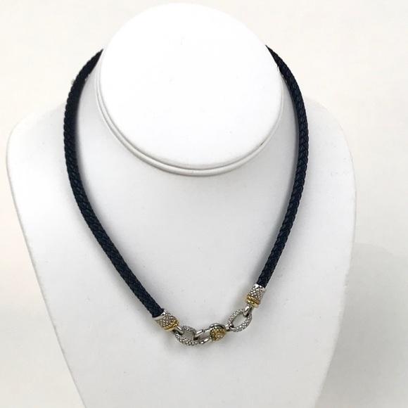 Judith Ripka Jewelry - Judith Ripka Leather 18k w/Diamonds Necklace